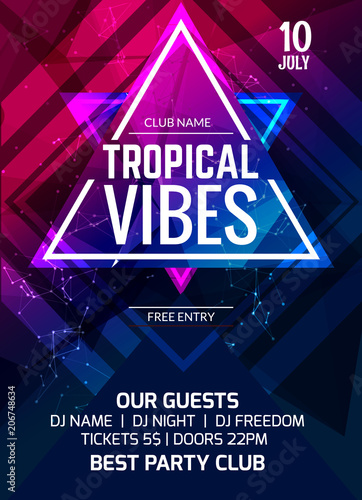 tropical vibes party flyer poster music club flyer design template