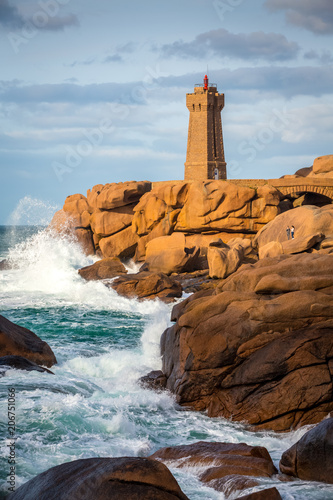 Foto op Aluminium Vuurtoren Ploumanach lighthouse, Saint-Guirec, Bretagne, France