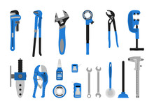 Vector Illustration. Set Of Tools For Plumbing.