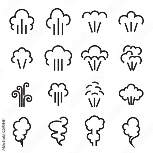 Steam icons. Linear symbol of steam function in domestic and industrial appliances isolated on a white background. Vector illustration. Editable stroke