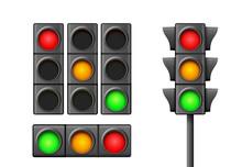 Street Traffic Light Icon Lamp...