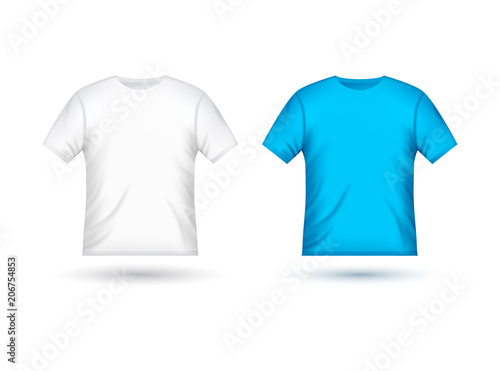 Blank T Shirt Template Clothing Fashion White And Blue Design With Sleeve Cotton