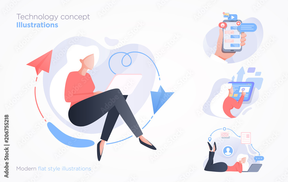 Fototapety, obrazy: Set of communication technology concept illustration. Modern flat style