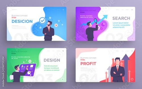 Fotografie, Obraz  Presentation slide templates or hero banner images for websites, or apps