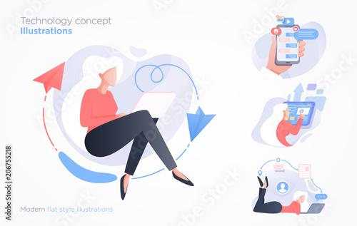 Fotografia  Set of communication technology concept illustration