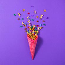 Ice Cream Cone With Golden Con...