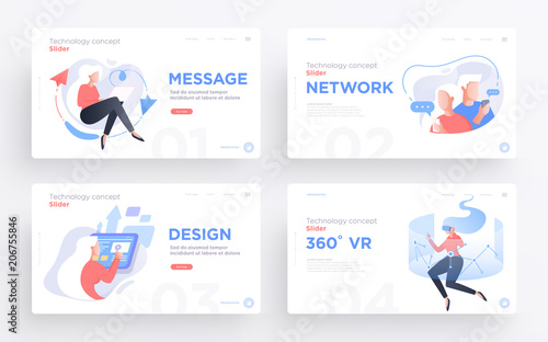 Presentation slide templates or hero banner images for websites, or apps. Communication technology concepts. Modern flat style. Vector