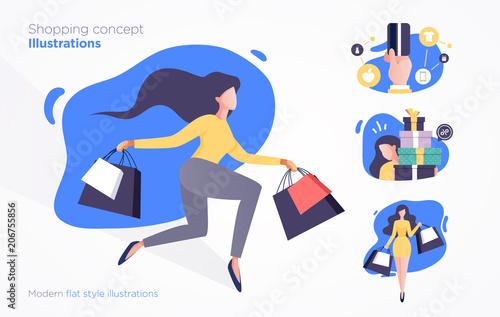 Fotografía  Set of shopping concept illustrations. Modern flat style