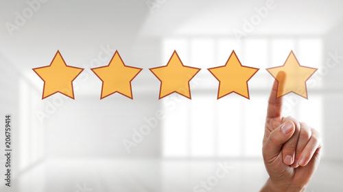 Finger wählt 5 Sterne auf Touchscreen aus Wallpaper Mural