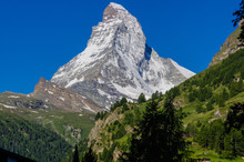 Close Up Matterhorn East Face And North Face In Swiss.
