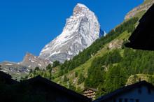 Matterhorn (Cervino) , East Face, North Face And White Cross From Zermatt In Swiss