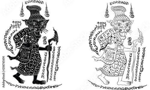 Foto op Plexiglas Art Studio Thai traditional painting, tattoo, cracked colour painting