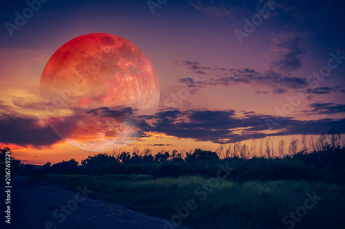 Foto auf AluDibond Lachs Landscape of sky with bloodmoon at night. Serenity nature background.
