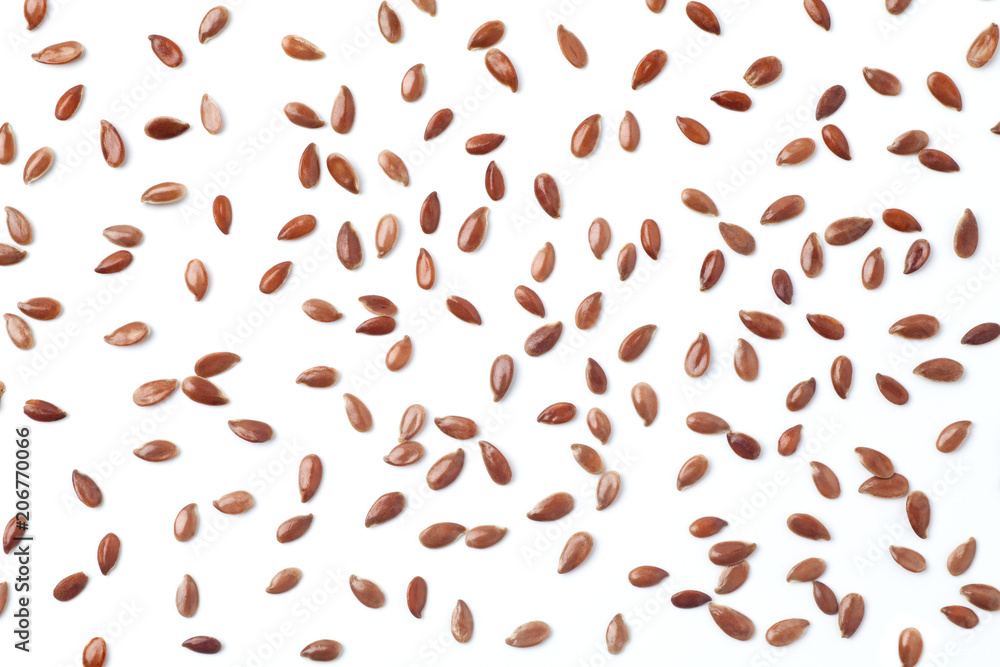 Fototapety, obrazy: Brown flax seeds on white background