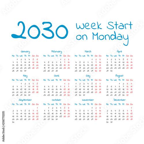 Fotografia  Simple 2030 year calendar