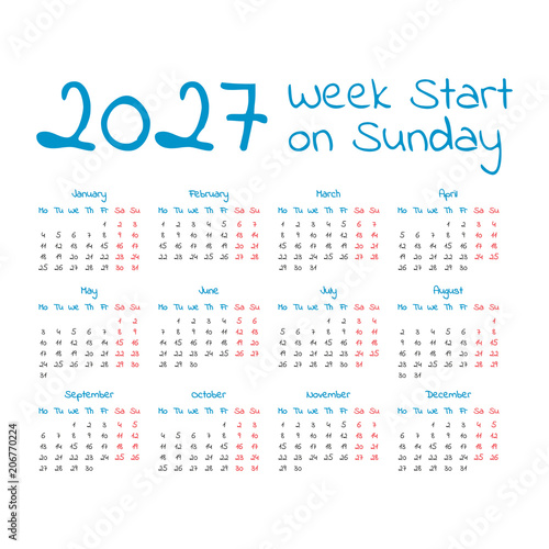 Photo  Simple 2027 year calendar
