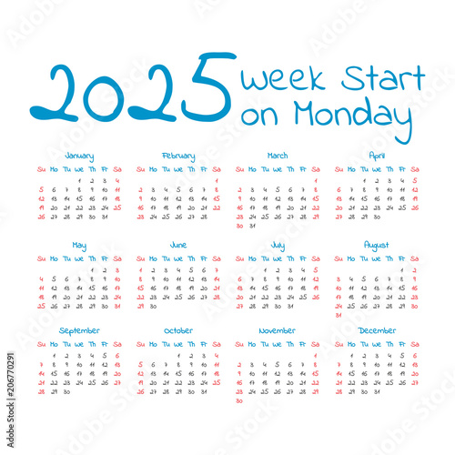 Fotografia  Simple 2025 year calendar