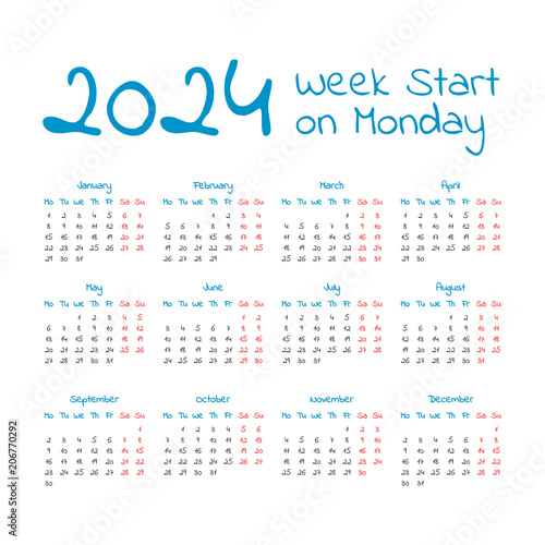 Poster  Simple 2024 year calendar