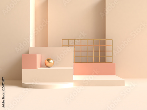 Fotografía  abstract wall cream-yellow orange geometric shape minimal 3d rendering