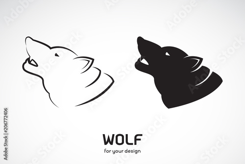 Vector Line Art Animals : Vector of wolf head design on white background wild animals