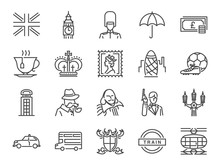 United Kingdom Icon Set. Included The Icons As Tea Time, British Pound, London Taxi, Queen, Flag, Bus, Big Ben Tower And More.