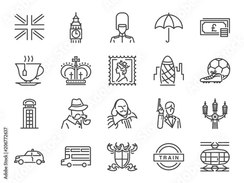 Stampa su Tela United Kingdom icon set