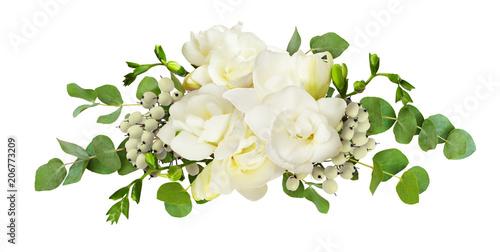 Fresh white freesia flowers and eucalyptus leaves in arrangement fresh white freesia flowers and eucalyptus leaves in arrangement mightylinksfo