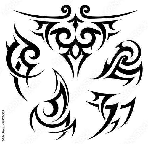 Tribal tattoo set on white