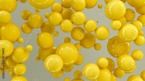 Yellow spheres of random size on white background