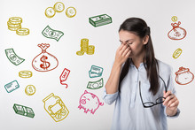 Financial Situation. Unhappy Young Woman Becoming Unemployed And Thinking About Her Financial Situation