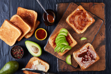 toasts with butter, avocado and yeast spread