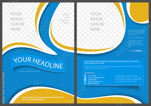 Flyer Template Elegant Abstract Style in Blue and Yellow Colors - Modern Graphic Design Illustration for