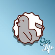 Monk Seal Sea Life Cartoon Ani...