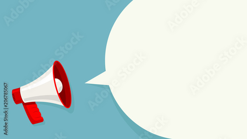 Megaphone white bubble for social media marketing concept Canvas Print
