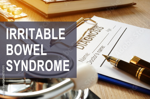 Irritable bowel syndrome (IBS). Diagnosis form on a table. Wallpaper Mural