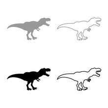 Dinosaur Tyrannosaurus T Rex Icon Set Grey Black Color