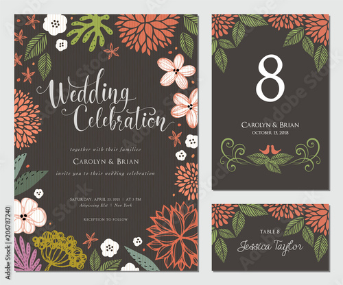 Invitation And Universal Card Design Set With Floral Wreath Wedding