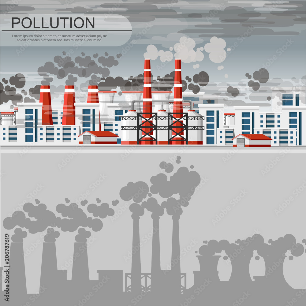 Fototapeta Smog polluted urban landscape. Highly polluted city with factory plants smoking towers and pipes. Environment contaminating carbon dioxide emissions. Flat style vector illustration