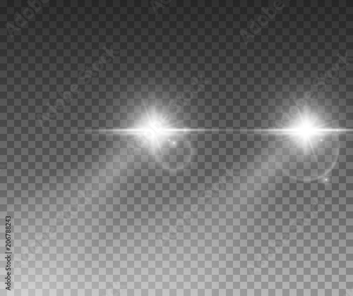 Foto op Canvas Licht, schaduw Cars light effect. White glow car headlight bright beams ray isolated on transparent background