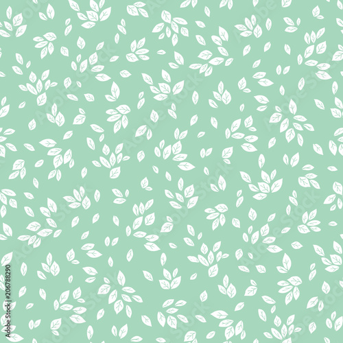 Tapeta zielona  vector-feminine-mint-green-and-white-monochrome-foliage-seamless-pattern-background