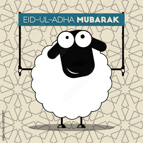 Cute Sheep With Banner On Seamless Islamic Wallpaper Pattern For Muslim Community Festival Of Sacrifice Eid
