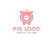 Modern Simple Pig Logo Animal Vector Symbol
