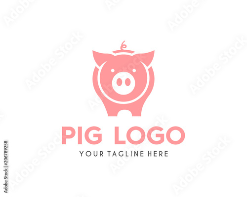 Fotomural  Modern Simple Pig Logo Animal Vector Symbol