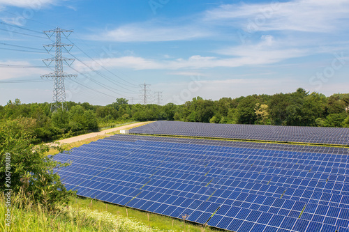 Photo Large field with solar panels in Holland