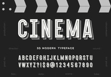 Cinema 3d Modern Typeface. Tre...