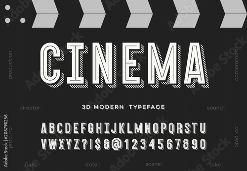 Photo  Cinema 3d modern typeface