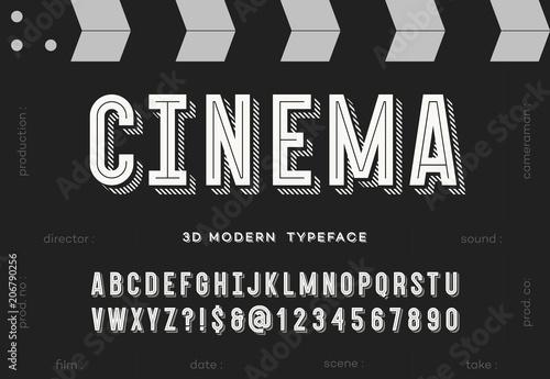 Fotografie, Obraz  Cinema 3d modern typeface