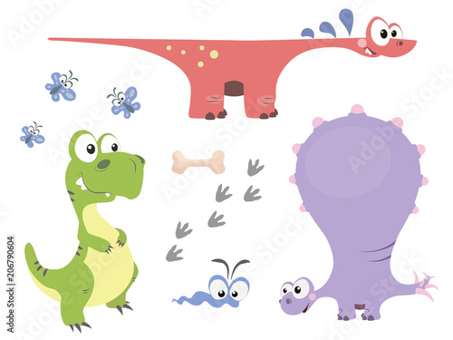 Set of cute dinosaurs in cartoon style Poster