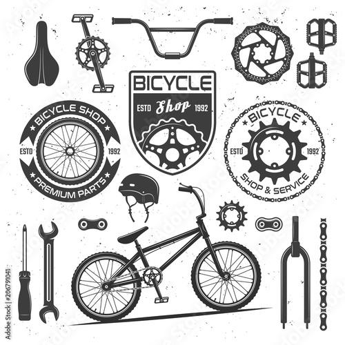 Fotografia Bicycle vector black elements, badges, labels