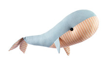 Closeup Image Of Cute Handmase Toy Whale Pillow With Ornament Isolated At White Background.